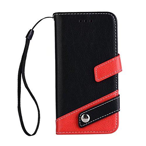 JIALUN-étui pour téléphone Case Litchi Texture Housse en cuir en cuir doublé à deux couleurs avec bouton à cordon et rivet pour iPhone 7 ( Color : Black ) Black