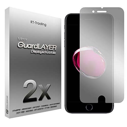 2x Apple iPhone 7 Plus (5,5 Zoll) - Spiegelfolie Display Schutzfolie Folie Schutz Mirror Screen Protector Displayfolie - RT-Trading