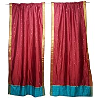 Mogul Interior 2 Sari Curtains Red Rod Pockets Window Treatment Boho Chic Decor 96x44
