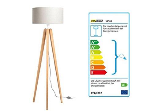 LED Stehleuchte Lampenschirm Leuchte mit warmweißem Licht Buchenholz Ständer Taupe und oder Creme (Creme)