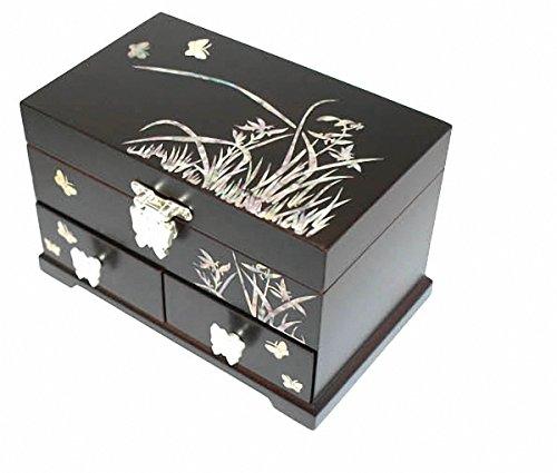 Miroir en nacre Noir BOIS LAQUE ASIATIQUE-Coffret Bijoux Rangement Treasure Cadeau Bijou Bague pour tiroir poitrine avec orchidée et étui de rangement Motif Papillon