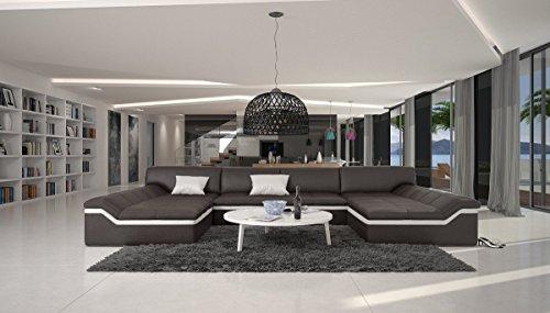 XXL Wohn-Landschaft mit Kunstleder Bezug 380x220 cm U-Form Dunkelbraun/weiß | Sarari-U | Designer Eck-Sofa mit 2 Recamieren | Couch-Garnitur für Wohnzimmer Dunkelbraun/Weiss 380cm x 220cm -