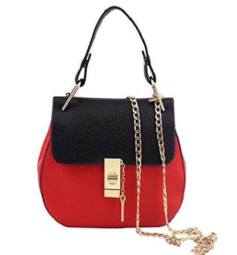 Preisvergleich Produktbild Tongshi süße große PU Leder Tote Schultertasche Handtasche Damen Messenger Kette plaid (Multicolor)