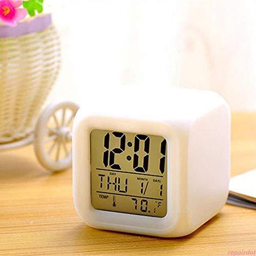 Würfelwecker, buntes Wechselgeld, Schlummerfunktion, Thermometer-Kalenderuhr, Nachtlicht-Kinderuhr