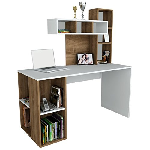 Alphamoebel 1179 Coral Schreibtisch Computertisch Arbeitstisch Bürotisch Laptoptisch PC-Tisch, Weiß Walnuss, Holz, integriertes Regalelement, viel Stauraum, große Arbeitsfläche, 140 x 60 x 153,8 cm (Coral Tisch)