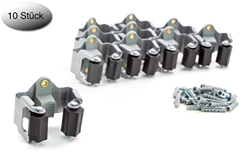 BS Premium Gerätehalter 10er Set - hochwertiger Besenhalter Wandhalter zur optimalen Aufbewahrung der Gartengeräte – Haushaltsgeräte – Werkzeuge – inklusive Montageanleitung - neuestes Modell