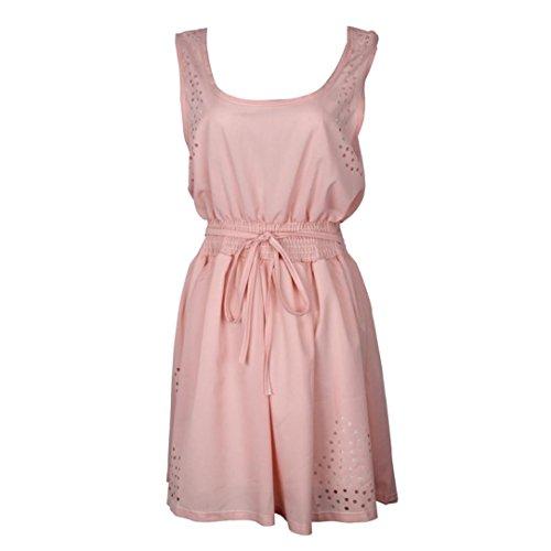 OSYARD Damen Sommer Casual Sommerkleider Chiffon O-Ausschnitt Ärmelloses Cocktail Minikleid Pink