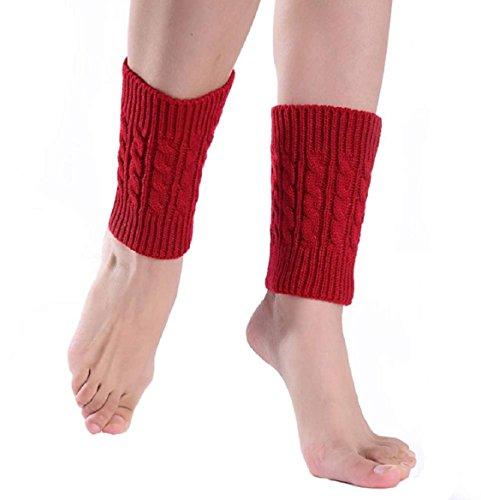 legwarmer damen Kolylong Demen kurze Stiefel Abdeckung Short Boot Cover (Rote)