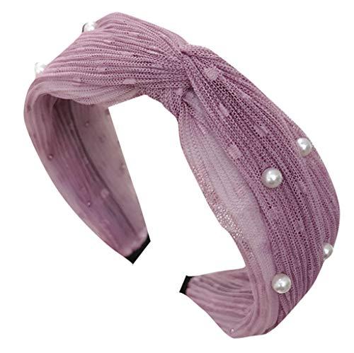 CANDLLY Stirnband Damen, Kopfschmuck Zubehör Mode Lässig Head Wrap Haarbands Kristall Mesh Bördeln Bogen Schöne Seite Stirnband Stoff Haarband Zubehörs...