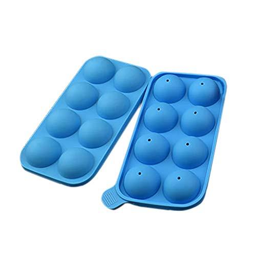 key-Eiswürfel Runde Eiskugeln Maker Tablett 8 Große Kugelformen Bar Cube Whisky Cocktails - Blau ()