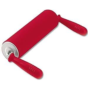 Kaiser Inspiration Teigrolle Nudelholz, mit Winkelgriffen, 17,5 cm, 100% lebensmittelechtes Silikon, mit Metallkern ergonomische Griffe, hohe Formstabilität und Flexibilität, rot