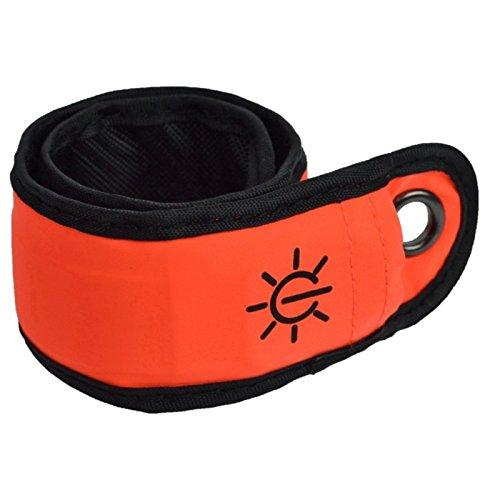 pparmband, mit LED-Beleuchtung, An-/Aus-Schalter, austauschbare Batterie, für Kinder geeignet, erhöhte Sichtbarkeit für Radfahrer oder Jogger, wasserabweisend, rot ()
