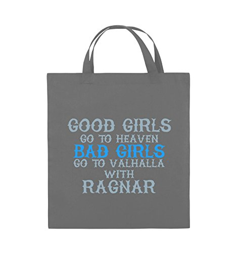 Comedy Bags - Good girls go to heaven bad girls go to valhalla - Jutebeutel - kurze Henkel - 38x42cm - Farbe: Hellblau / Weiss-Royalblau Dunkelgrau / Eisblau-Blau