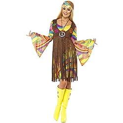 Smiffy's Smiffys-35531L Hippies Chica estupenda de los 60, con Vestido, Chaleco Estampado y Banda para el Pelo, Color marrón, L-EU Tamaño 44-46 35531L