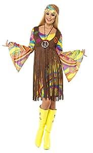 Smiffys, Damen 60er Groovy Lady Kostüm, Kleid, Weste und Stirnband, Hippie, Größe: S, 35531