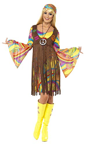 Smiffys, Damen 60er Groovy Lady Kostüm, Kleid, Weste und Stirnband, Hippie, Größe: X1, 35531 (Dress Ideen Halloween Fancy Paare)