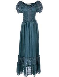 a9e1c4f576df Anna-Kaci Peasant Maiden Boho Inspired Cap Sleeve Lace Trim Dress