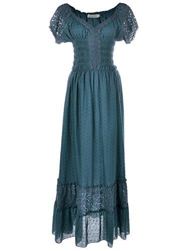 Anna-Kaci Blau Kleine Größen Smock Taille Sommer-Maxi Kleid mit Flügelärmeln Boho Gypsy (Glam Baumwolle Rock)