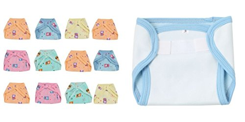 Ala-Mode-Creation-Printed-12-Large-Muslin-Tying-Nappies-1-Quickdry-Diaper-Cover-Free-9-12-Months