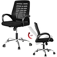 Desk Chair, DOSLEEPS Heavy Duty Comfortable V Shape Medium Back Home Office Work Computer Gaming Desk Chair, Ergonomic Design, Stainless Steel Base, Mesh Upholstered Seat Pan, Tilt Mechanism, 360 Degree Swivel, Max Weight Capacity 150kg, Black