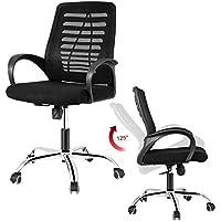 Office Chair, DOSLEEPS Heavy Duty Comfortable V Shape Medium Back Home Office Work Computer Gaming Desk Chair, Ergonomic Design, Stainless Steel Base, Mesh Upholstered Seat Pan, Tilt Mechanism, 360 Degree Swivel, Max Weight Capacity 150kg, Black