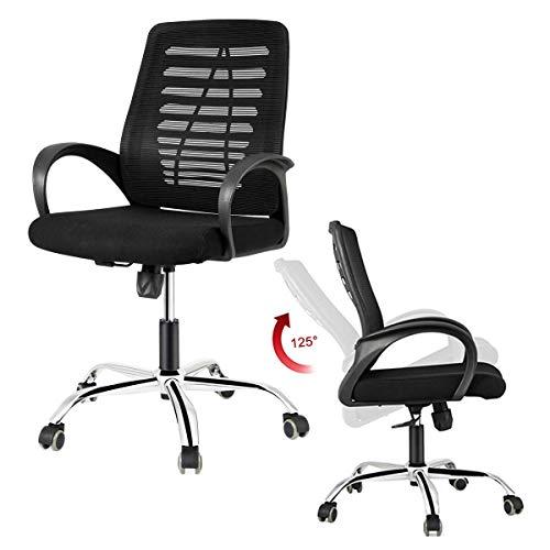DOSLEEPS Office Chair, Heavy Duty Comfortable V Shape Medium Back Home Office Work Computer Gaming Desk Chair, Ergonomic Design, Tilt Mechanism, 360 Degree Swivel, Max Weight Capacity 150kg, Black