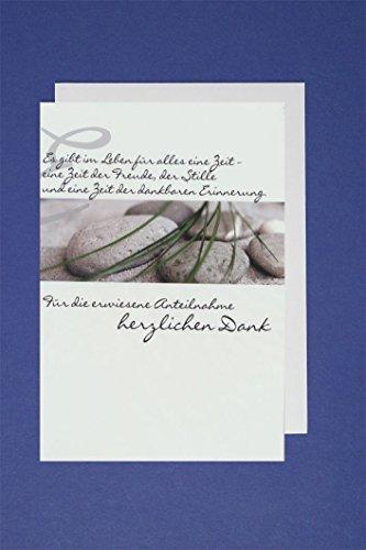 Trauer Danksagung 5er Mehrstückpackung Danke Steine 5 Karten 15x11cm