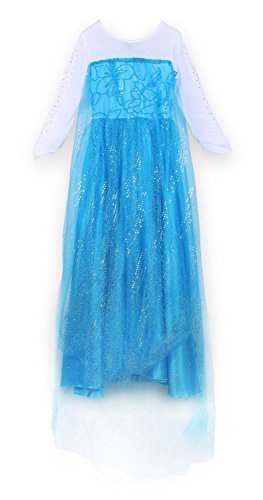 Maxi Real Snow Queen Elsa Dress Costume for Girls 3-9 Years (S) by ()