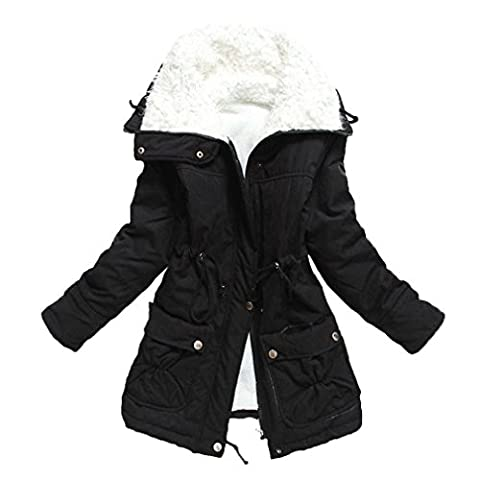 Babyonline Mantel Damen Wintermantel Parka Schwarz Jacke Warm M