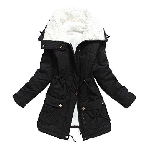 MisShow® Damen Warm Winterparka Winterjacke mit Pattentasche Outwear Jacket Schwarz XXL