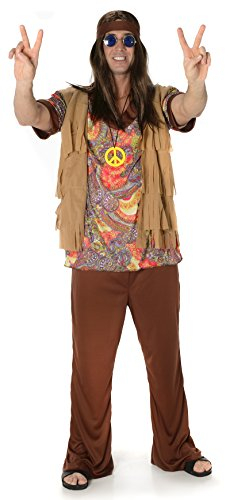 Groovy Hippie Man Fancy Dress Costume (Adults) in two sizes.