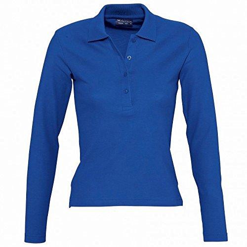 SOLS Podium Damen Pique Polo-Shirt, Langarm (XL) (Königsblau)