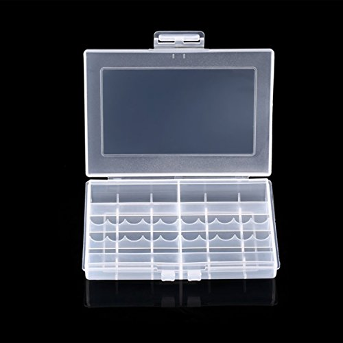 Transparenter Hartplastikkoffer LEISE 8002 Batterien Aufbewahrungsbehälter-Halter-Speicherbatterie-Kasten für 10 x AA oder 14 x AAA-Batterie