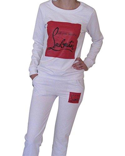Mujer Chándal Conjuntos Deportivos 2Pcs Impresión Manga Larga Sweatshirt + Pantalones Blanco M