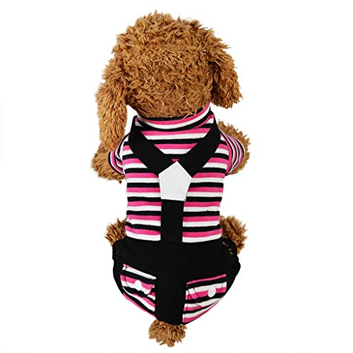 Vierbeinigen Kostüm - Sixcup Haustier Klassischen Streifen Hundekleidung,Hund Kleidung mit klassischen Streifen Print Kleidung Doggy Kleidung Baumwolle Kostüme Vierbeinigen Trägerhose Katze Hundekleidung (L, Hot Pink)