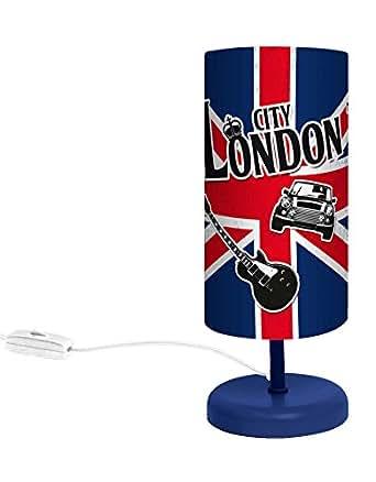 Lampe londres union jack abat jour luminaires for Lampe de chevet anglais
