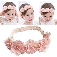 PICCOLI MONELLI Fascia neonata capelli battesimo bambina con fiocchetti a  rose elegante battesimale colore rosa cc5b25f1c6c5