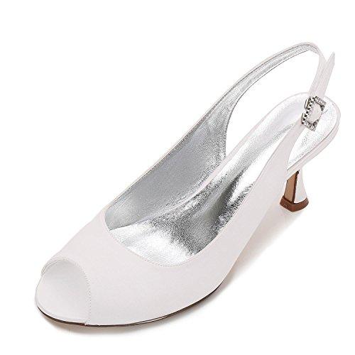 L@YC Mariage des Femmes T17061-17 Ivoire Satin Peep Toe Bridal Demoiselle D'Honneur Jane Style Chaussures à Talons Bas 3-8 Ivoire