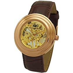Kings and Queens Mens Mechanical Skeleton Watch Rose Gold Bezel Brown Leather Strap KQ-BRRG
