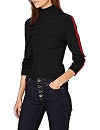 Morgan Pull Col Roulé Bande Couleur Manche Mentoi Pullover Sweater para Mujer