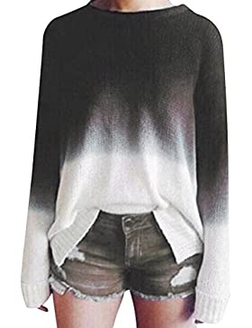 Mujeres Suéter Jerseys Redondo Cuello Pullover Casual Largo Manga Suelto Blusa Suéter Jerseys Prendas Señoras...
