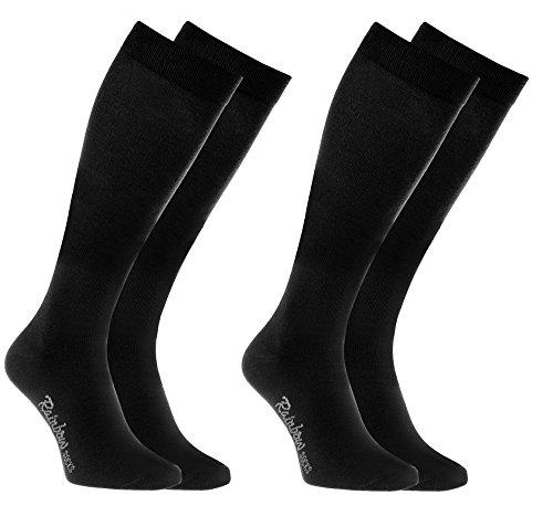 Rainbow Socks 2 pares de Calcetines LARGOS by ALGODÓN Peinado, PAQUETE Calcetines Hasta Rodilla Modernos, Cómodos y Delicados |2X NEGRO Tamaño 42-43, Hecho en Europa