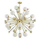 TopDeng Spoutnik Verre Lustres, Créatif Moderne Globe Chandelier G9 Verre Boule Plafonnier Salon Restaurant Chambre-18 Lumières-Blanc Chaud 100cm-54W