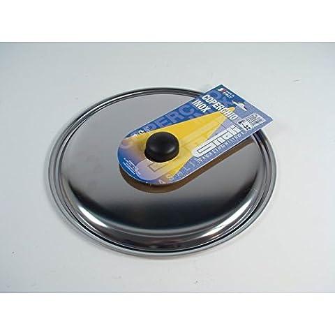 Coperchio in acciaio inox con pomolo per pentole casseruole con diam 32 Cm