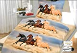 Brandsseller - Hochwertige Tiermotiv Wende- Bettwäsche Microfaser Set Pferde Bettbezug: 135 x200 cm Kissenbezug: 80 x80 mit Reißverschluss (Pferde2, 80x80-135x200)