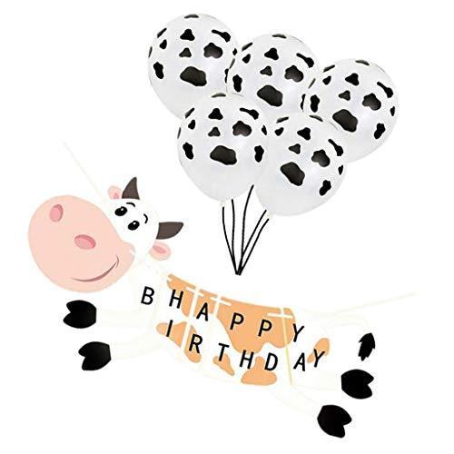(P Prettyia '' Happy Birthday '' Wimpelgirlande + Latexballon mit Kuh Stil für Taufe und Kindergeburtstag)