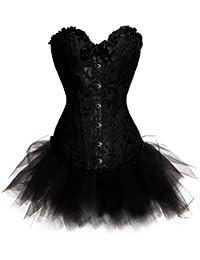 Aimerfeel satin noir dentelle vintage le corset désossée basque avec G-string