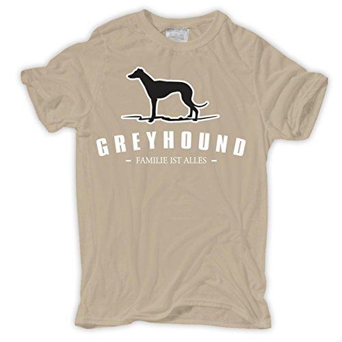 Männer und Herren T-Shirt Greyhound - Familie ist alles Größe S - 8XL Sand