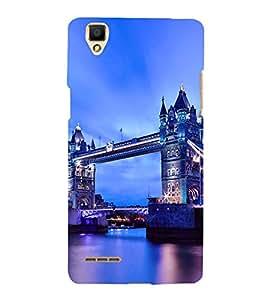 Fuson Designer Back Case Cover for Oppo F1 :: A35 (Landon Bridge evening dark blue lighting)