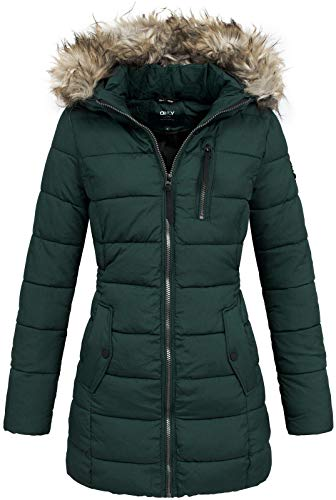 ONLY Damen Steppmantel Winterjacke Steppjacke Kapuzenjacke Damenjacke (M, Green Gables/Melange)